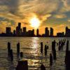 【エネルギーが開く縦の虹】ニューヨークのピア40ハドソンリバーパークで 幻想的な「幻日」が出現